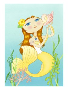 mermaid listening to shell